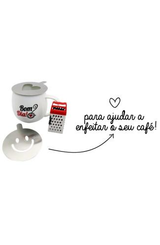 Caneca com Ralador e Stencil Arte Cafe